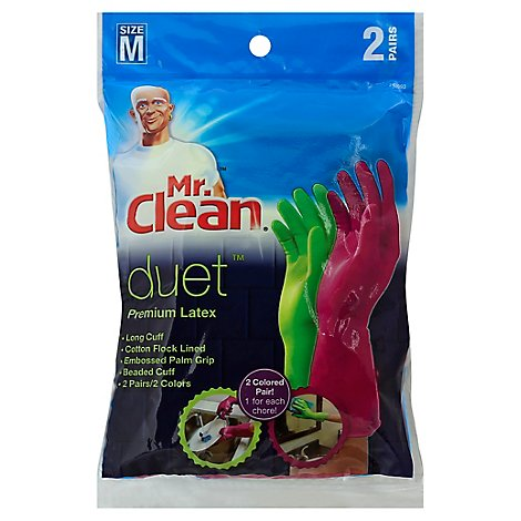 Mr. Clean Duet Gloves Latex Reusable Medium - 2 Count