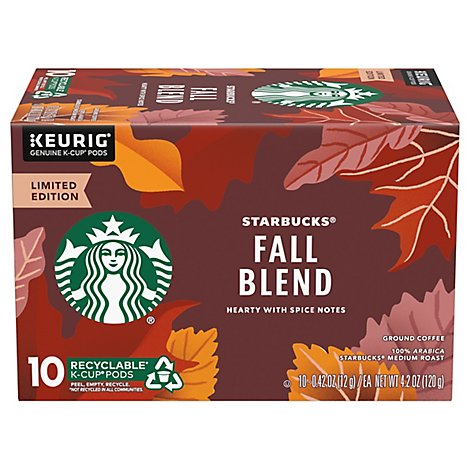 Starbucks Coffee KCup Pods Medium Roast Fall Blend Box - 10-0.42 Oz