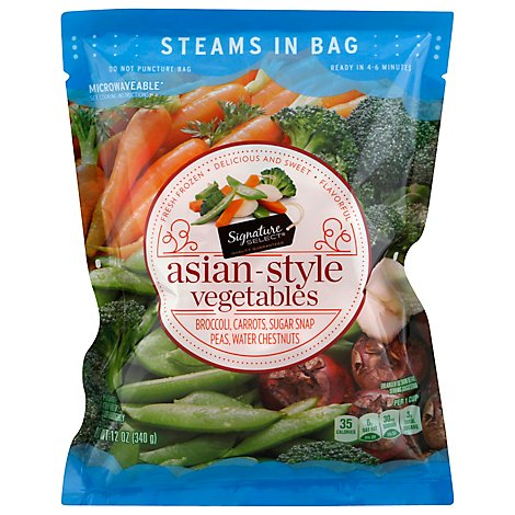Signature SELECT/Kitchens Broccoli Carrots Sugar Snap Peas & Water Chestnuts Steam In Bag - 12 Oz