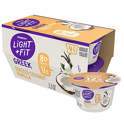 Dannon Light + Fit Yogurt Greek Nonfat Gluten Free Toasted Coconut Vanilla - 4-5.3 Oz