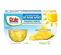 Dole Pineapple Tidbits No Sugar Added Cups - 4-4 Oz