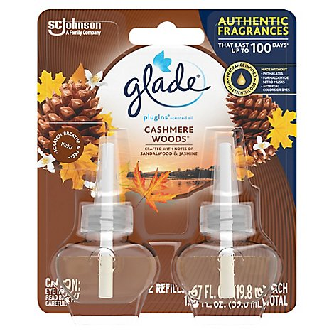 Glade PlugIns Scented Oil Refill Cashmere Woods Essential Oil Infused Plug In 1.34 oz Pack of 2