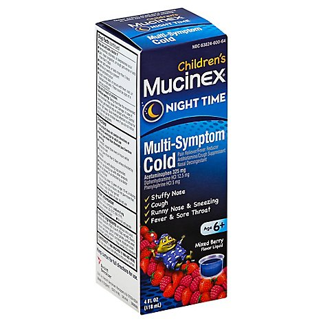 Mucinex Childrens Liquid Medicine Multi-Symptom Night Time Mixed Berry - 4 Fl. Oz.