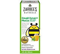 Zarbees Natural Cough Syrup + Mucus Childrens with Dark Honey Natural Grape Flavored - 4 Fl. Oz.