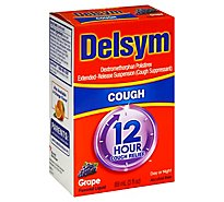 Delsym Cough Suppressant Cough Relief 12 Hour Liquid Grape Flavored - 3 Fl. Oz.
