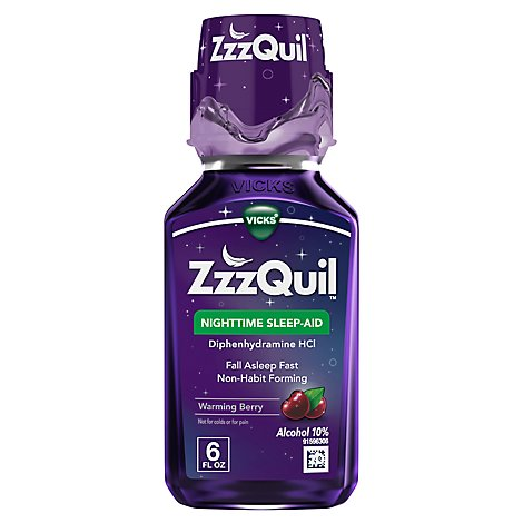 Vicks ZzzQuil Nighttime Sleep Aid Liquid Warming Berry - 6 Fl. Oz.