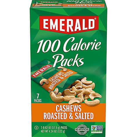 Emerald 100 Calorie Packs Cashews Halves & Pieces - 7-0.62 Oz