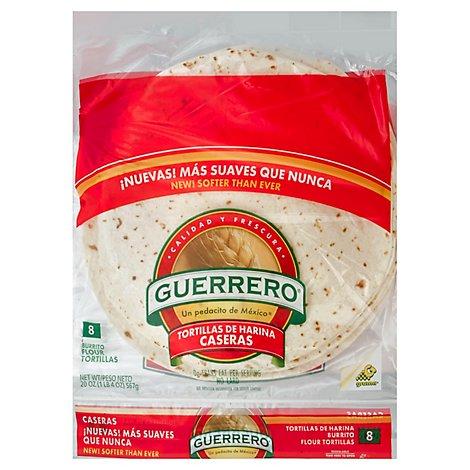Guerrero Tortillas Flour Burrito De Harina Caseras Bag 8 Count 20 Oz Carrs