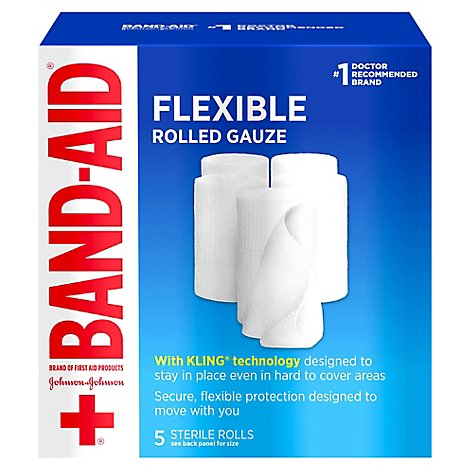 BAND-AID Gauze Rolled Medium Value Pack - 5 Count