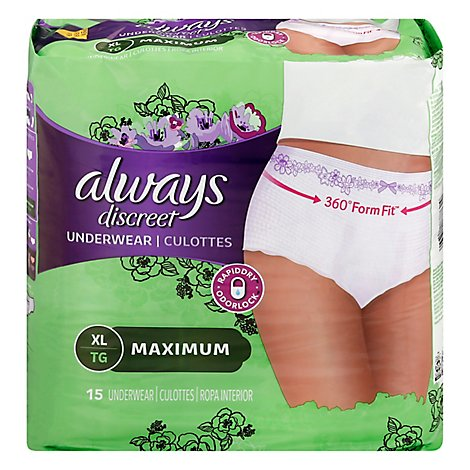 Always Discreet Underwear Xtra Large Maximum - 15 Count