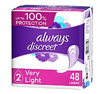 Always Discreet Liners Very Light Absorbency Regular Length - 48 Count