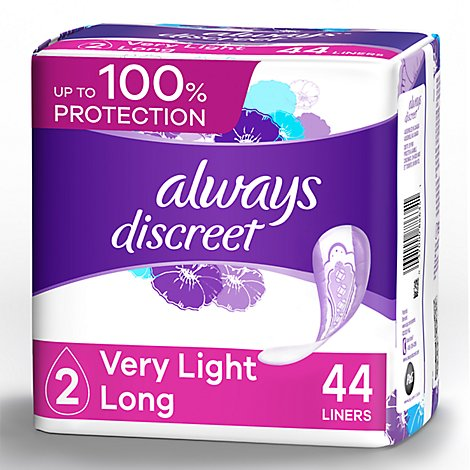 Always Discreet Liners Very Light Absorbency Long Length - 44 Count