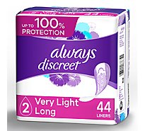 Always Discreet Liners Incontinence Very Light Absorbency Long Length - 44 Count