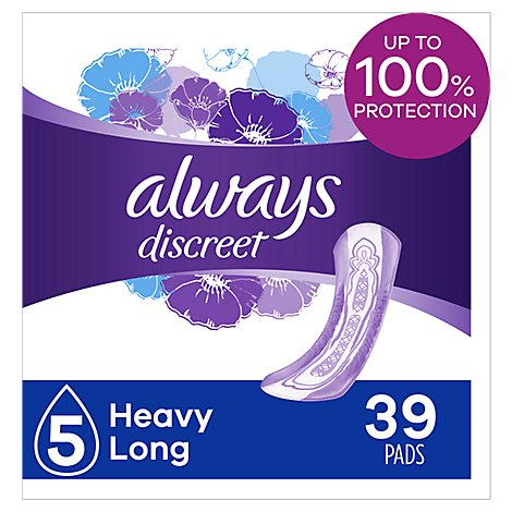 Always Discreet Pads Heavy Absorbency Long Length - 39 Count