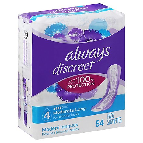 Always Discreet Pad Moderate Absorbency Long Length - 54 Count