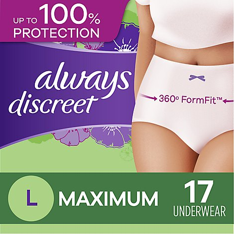 Always Discreet Underwear Large Maximum - 17 Count