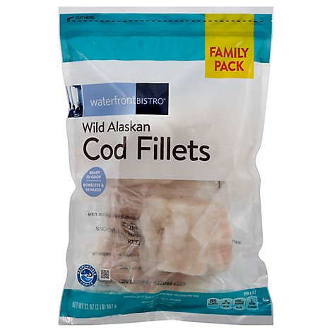 waterfront BISTRO Cod Fillets Wild Alaskan Boneless & Skinless - 32 Oz