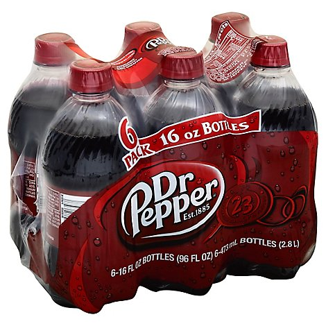 Dr Pepper Soda 16 fl oz bottles 6 pack