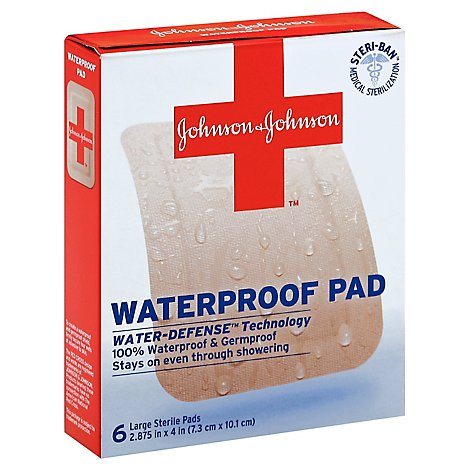 BAND-AID Pads Waterproof Large - 6 Count
