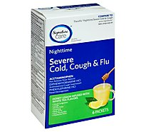 Signature Care Severe Cold Cough & Flu Relief Nighttime Honey Lemon Infused White Tea - 6 Count