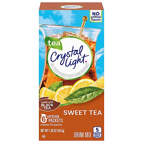 Crystal Light Drink Mix Pitcher Packs Sweet Tea Tub 6 Count - 1.56 Oz