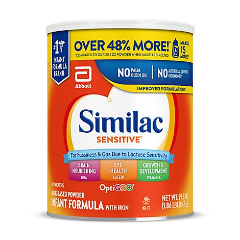 Similac Sensitive For Fussiness and Gas Infant Formula With Iron Powder - 29.8 Fl. Oz.
