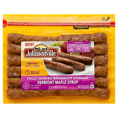 Johnsonville Breakfast Sausage Links Maple Fully Cooked 12 Links - 9.6 Oz