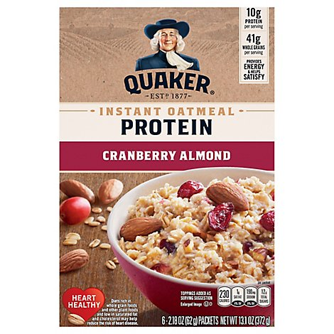 Quaker Select Starts Protein Oatmeal Instant Cranberry Almond - 6-2.18 Oz