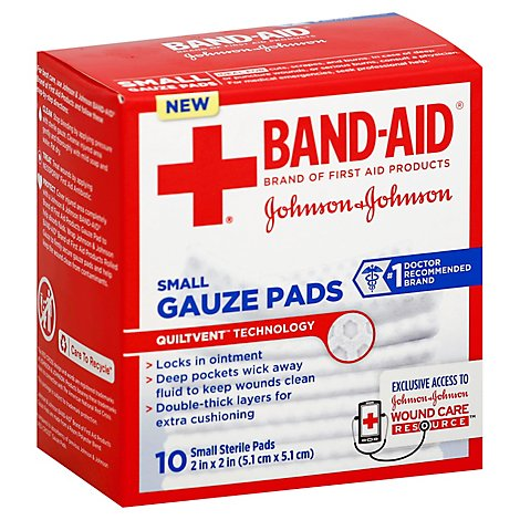 BAND-AID Gauze Pads Small - 10 Count