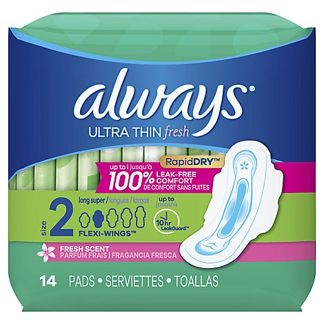 Always Pads Ultra Thin Size 2 Super Long Absorbency With Wings Scented - 14 Count