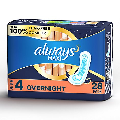 Always Maxi Size 4 Overnight Pads Without Wings Unscented - 28 Count