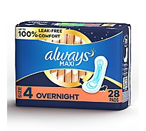 Always Maxi Pads Size 4 Overnight Absorbency Without Wings Unscented - 28 Count