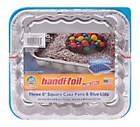 Handi-foil Fun Colors Caked Pans Square & Blue Lids 13 x 9 - 3 Count