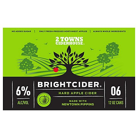 2 Towns Bright Cider In Cans - 4-12 Fl. Oz.