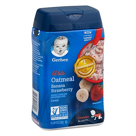 Gerber Lil Bits Cereal Oatmeal Banana Strawberry - 8 Oz