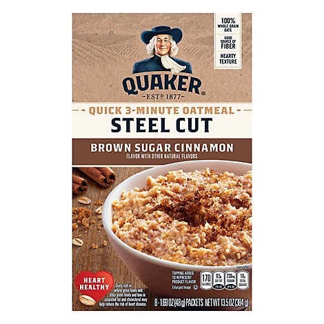Quaker Oatmeal Steel Cut Brown Sugar & Cinnamon - 8-1.69 Oz