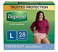 Depend Fit-Flex Underwear for Women Maximum Absorbency Large - 28 Count