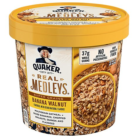 Real Medleys Oatmeal+ Super Grains Banana Walnut Flavor - 2.46 Oz