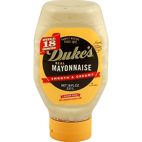 Dukes Mayonnaise Real Sugar Free Smooth & Creamy - 18 Fl. Oz.