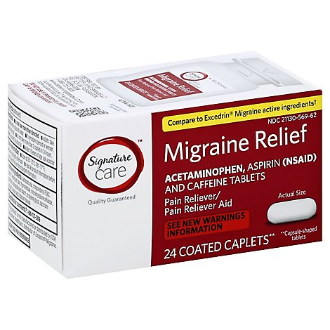 Signature Care Migraine Relief Acetaminophen Aspirin Pain Reliever Coated Caplet - 24 Count