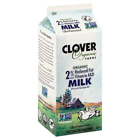 Clover Organic Milk Reduced Fat 2% Ultra Pasteurized - Half Gallon