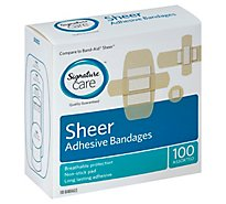 Signature Care Adhesive Bandages Sheer Assorted - 100 Count
