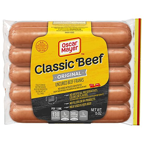 Oscar Mayer Beef Franks Uncured Classic - 15 Oz