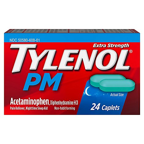TYLENOL PM Pain Reliever/Nighttime Sleep Aid Caplets Extra Strength - 24 Count