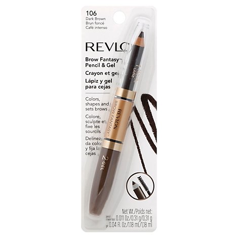 Revlon Brow Fantasy Pencil & Gel Dark Brown 106 - .011 Oz