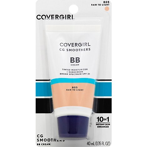 COVERGIRL CG Smoothers BB Cream Moisturizer + Sunscreen SPF 21 Fair to Light 805 - 1.35 Fl. Oz.