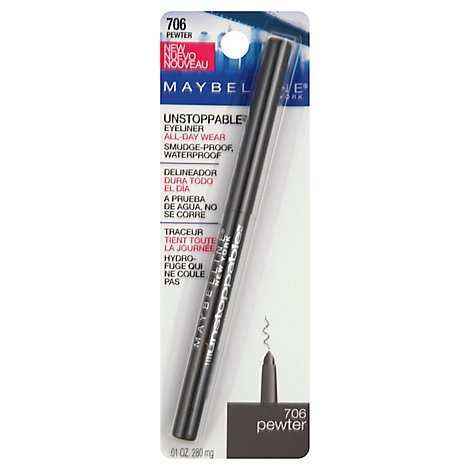 Maybelline Eyeliner Unstoppable Smudge Proof Waterproof Pewter 706 - .01 Oz