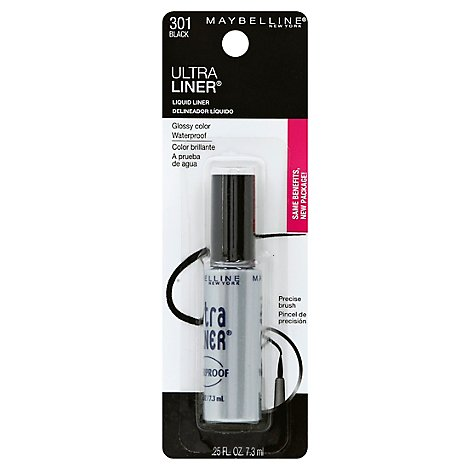 Maybelline Eyeliner Liquid Liner Ultra Waterproof Black 301 - .25 Fl. Oz.