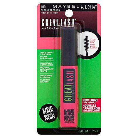 Maybelline Mascara Great Lash Blackest Black 100 - 0.43 Fl. Oz.