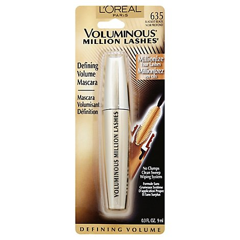 LOreal Mascara Voluminous Million Lashes Blackest Black 635 - .3 Fl. Oz.